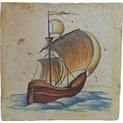 Unusual LARGE 17c Delft Tile Galleon Ship Polychrome Hand-Painted Antique