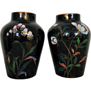 Pair Antique Asian Vases with Flowers & Butterflies Chinese Japanese