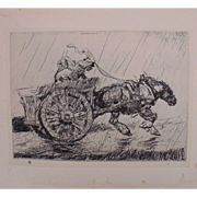 "Antique Edmund Blampied Etching Print ""Driving Home in the Rain"" c. 1926"