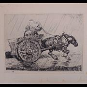 "Antique Edmund Blampied Etching Print ""Driving Home in the Rain"" c. 1926"