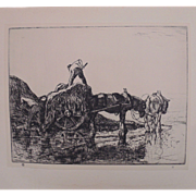 "Antique Edmund Blampied Dry Point Etching Print ""Vraic Men (Vraic Farmers)"" c. 1926"