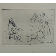 "Antique Edmund Blampied Dry Point Etching Print ""The Sick Man"" c. 1926"
