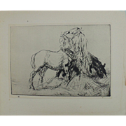 "Antique Edmund Blampied Dry Point Etching Print ""Horses Eating Hay"" c. 1926"