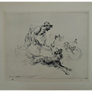 "Antique Edmund Blampied Dry Point Etching Print ""The Joy Ride"" c. 1926"