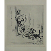 "Antique Edmund Blampied Dry Point Etching Print ""Fisherman's Pet"" c. 1926"