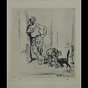 "Antique Edmund Blampied Dry Point Etching Print ""Fisherman's Pet"" c. 1926"