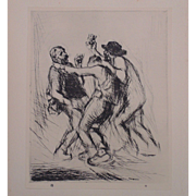"""Antique Edmund Blampied Dry Point Etching Print """"Cider Drinkers (Country Cider)"""" c. 1926"""