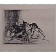 "Antique Edmund Blampied Dry Point Etching Print ""The Letter"" c. 1926"