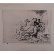 "Antique Edmund Blampied Dry Point Etching Print ""The Farmer Dentist"" c. 1926"