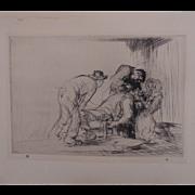"Antique Edmund Blampied Dry Point Etching Print ""The Farmer Dentist"" c. 1926"