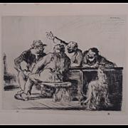 """Antique Edmund Blampied Dry Point Etching Print """"Tonnerre de Brest!"""" c. 1926"""