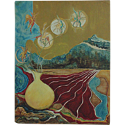 Modern Abstract Painting Oil on Board Mid Century