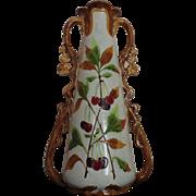LARGE Vintage Majolica Vase w/ Flowers Leaves and Cherries