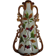 LARGE Vintage Majolica Vase w/ Flowers Leaves and Cherries