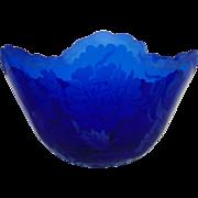 LARGE Marialyce Hawke Centerpiece Cutaway Bowl Cobalt Blue Intaglio Art Glass Signed