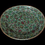 19c Antique Chinese Celadon Platter Famille Rose Butterflies & Birds