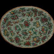 19c Antique Chinese Celadon Platter Famille Rose Butterflies Birds Serving Plate