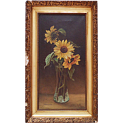Antique 19c Sunflowers Oil Painting Flowers Floral on Canvas Victorian Signed Pauline Moll