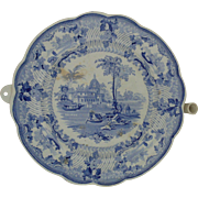 Rare Antique Warming Dish Plate Surseya Ghaut Khanpore Blue & White Transferware English Georgian Staffordshire England