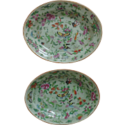 Pair Chinese Celadon Oval Vegetable Plates Rose Medallion Butterflies & Birds Butterfly Flowers
