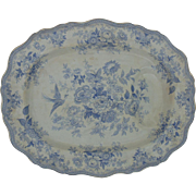LARGE 19c Transferware Platter Tree & Well.E & H Asiatic Pheasant Blue & White Serving Plate Antique