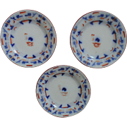3 Antique Copeland Flow Blue Gaudy Welsh Bread Plates English England