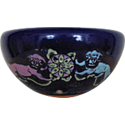 Vintage Chinese Bowl Planter Cobalt Blue Pottery w/ Hand Enameled Foo Dogs