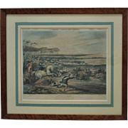 "19c Antique Fox Hunting Colored Print ""Gone Away"" F. C. Turner Horses Dogs in Burl Wood Frame English Equestrian"