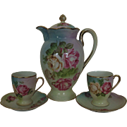 Antique Porcelain Chocolate Pot w/ 2 Cups & Saucers Cabbage Roses Bavaria Germany