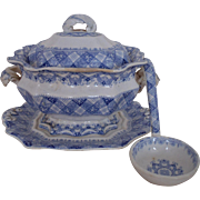 19c Small Soup Tureen & Ladle Ridgway Morley Ware Caledonian Transferware Staffordshire Blue & White Antique England English