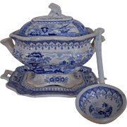 19c Small Soup Tureen & Ladle T. Mayer Canova Stoke upon Trent Transferware Staffordshire Blue & White Antique England English