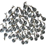 Lot of 54 Antique Drop Glass Prisms Lusters Lamp Chandelier Sconces Lustres Controlled Bubble