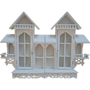 Figural Miniatures Wall Curio Cabinet Shelf Collectibles Shabby Cottage Chic House
