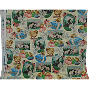 1 of 6 Yards Vintage Easter Cotton Fabric Chicks Bunnies Eggs Lilies