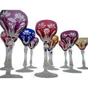 10 Vintage Crystal Cut to Clear Wine Glasses Hocks Stems Cobalt Blue Cranberry Yellow & Purple Glass Czech Bohemian Czechoslovakia