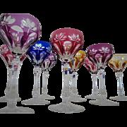 10 Vintage Crystal Cut to Clear Wine Glasses Hocks Stems Cobalt Blue Cranberry Yellow & Purple Glass Czech Bohemian Czechoslovakia