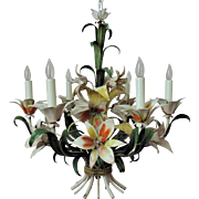 Vintage Italian Tole Chandelier Floral Flowers 6 Lights Mid Century Modern Italy Shabby Cottage Chic