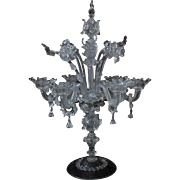LARGE Antique Italian Glass Candelabrum Candelabra Table Chandelier Murano Venetian Flowers Floral Daffodils Leaves Centerpiece Italy Victorian