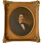 LARGE 19c American School Portrait Painting Gentleman Man Oil on Canvas in Gilt Wood & Gesso Picture Frame