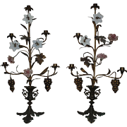 Pair Antique French Bronze Girandoles Candlesticks Candle Holders Candelabra w/ Porcelain & Glass Flowers
