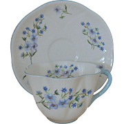 Shelley Blue Rock Tea Cup & Saucer Blue & White Flowers Floral English Bone China