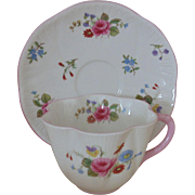 Shelley Rose & Red Daisy Tea Cup & Saucer Flowers Floral English Bone China