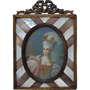 Early 19c French Miniature Portrait of Lady Woman Hand-Painted Signed Coster Antique Painting in Bronze & Mother of Pearl MOP Frame