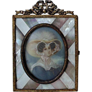 Early 19c French Miniature Portrait of Lady Woman Hand-Painted Signed Meurol Antique Painting in Bronze & Mother of Pearl MOP Frame
