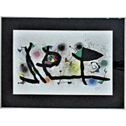 RARE Joan Miro Lithograph - Sculptures III,  1974 -  Framed Spanish Original Abstract Modern Vintage Litho