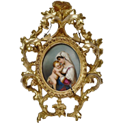 19c Italian Miniature Portrait Painting on Porcelain Madonna Virgin Mary & Baby Jesus Religious w/ Antique Gilt Wood Rococo Picture Frame