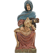 19c Carved Wood Pieta Madonna Virgin Mary & Jesus Religious Reliquary Polychrome Figure Sculpture Santos Signed Moskata