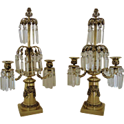 Pair Vintage Brass Candelabra Girandoles