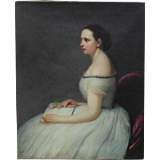 19th c. Antique American School Victorian Lady Oil on Canvas Portrait Painting Woman