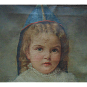 19c Little Girl Portrait Painting Oil on Canvas Victorian Child Signed Antique